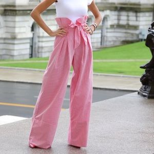 New ZARA Pink and White Striped Palazzo Trousers